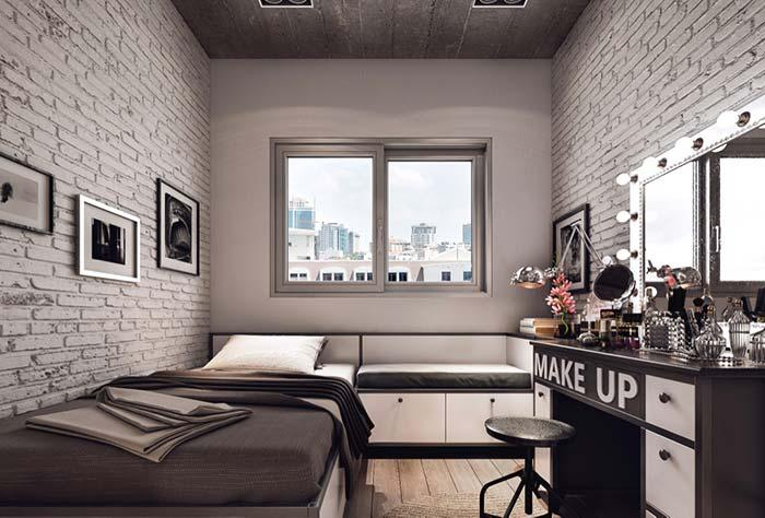 Room facing brick with a view