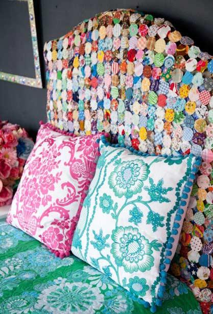 Fuxicos with different styles and colors for bed headboard