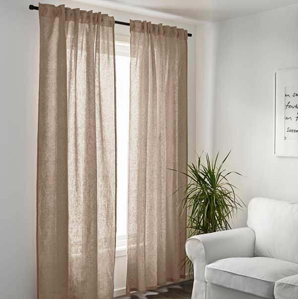Linen fabric on the curtain for a neutral environment