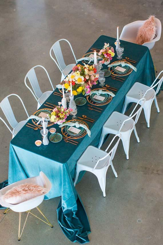 Blue tablecloth on table set