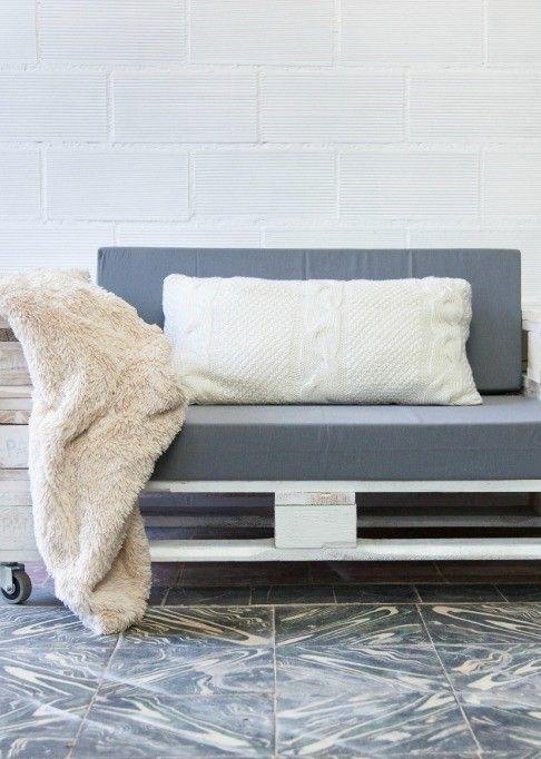 White painted pallet sofa