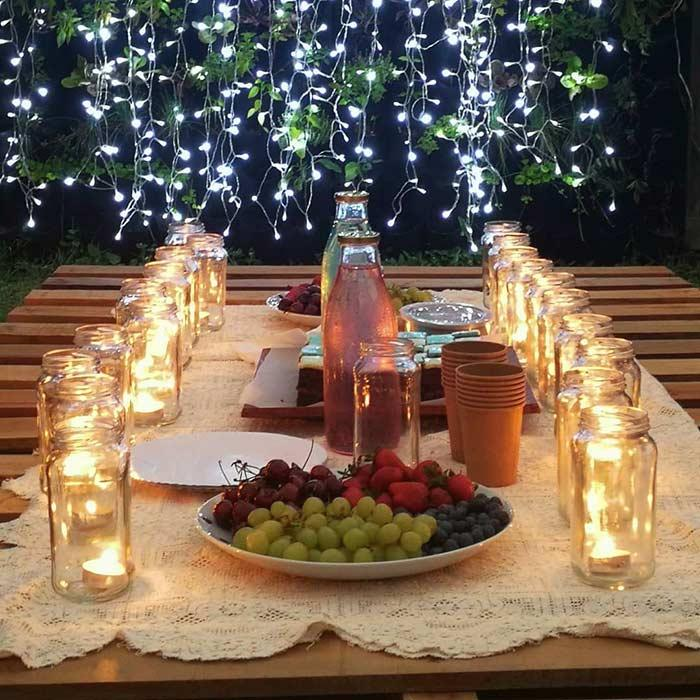 Pallet table outside, at night