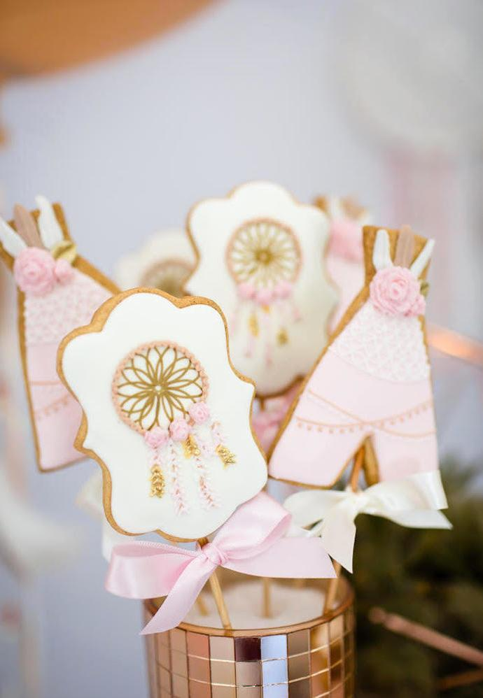 More details of biscuits decorated for gypsy and boho chic party