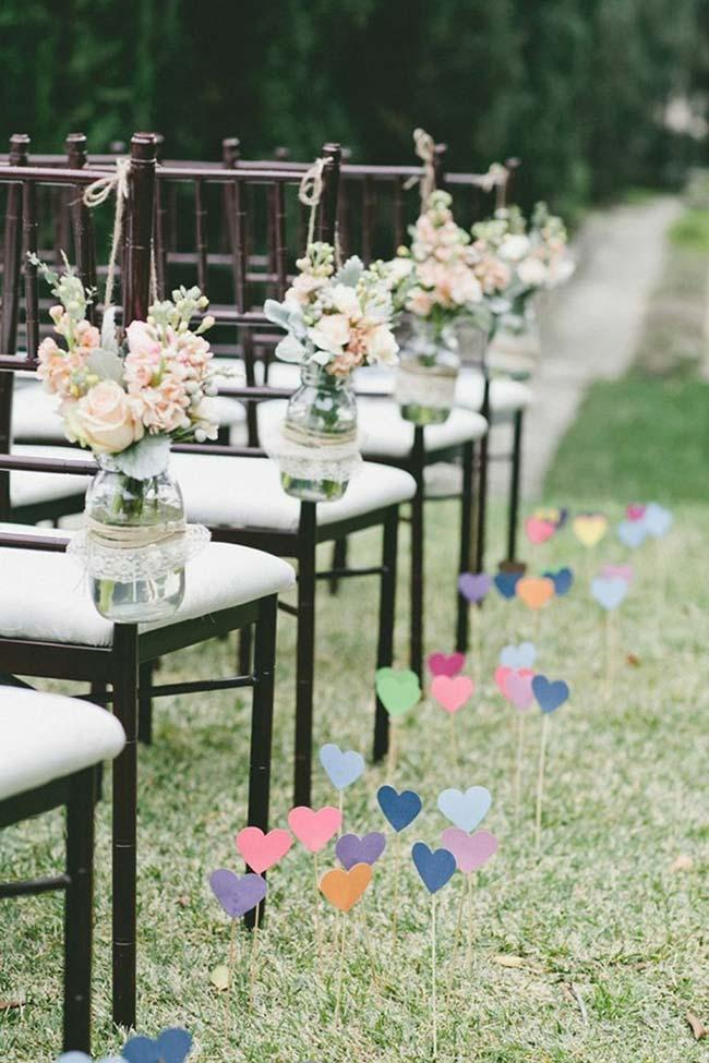 Decoration with colorful paper hearts outdoors