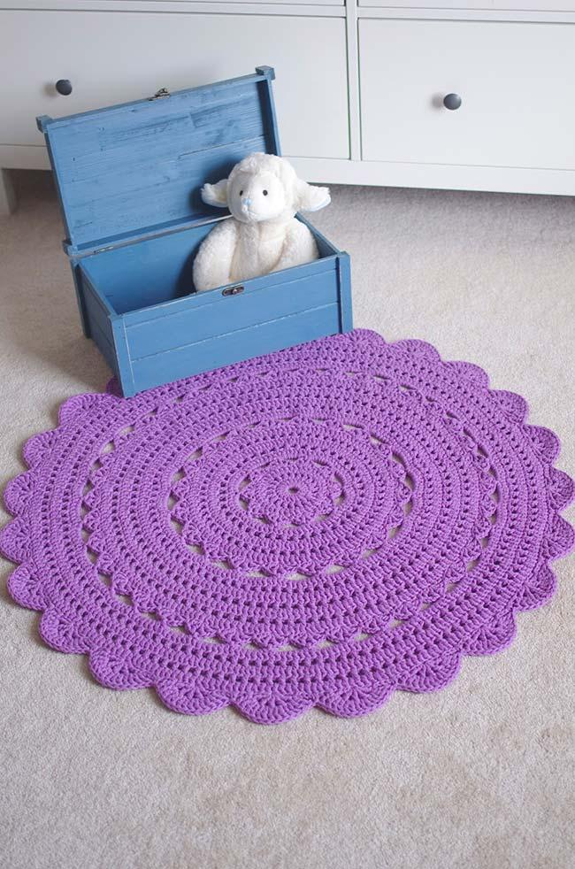 Round purple crochet rug