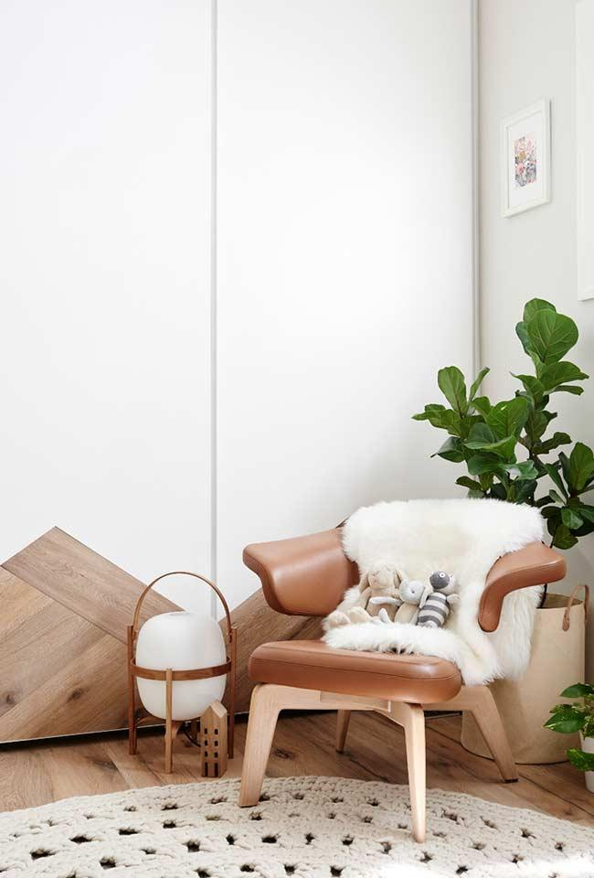 Leather-covered armchair