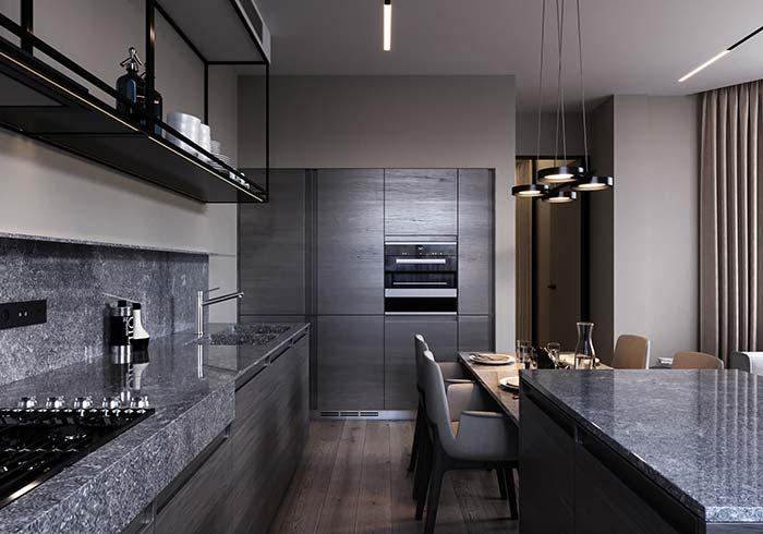 Indian Black on Kitchen Countertop and Sink