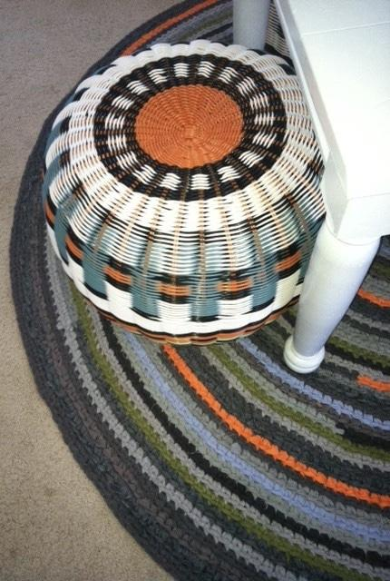 Round crochet rug matching the ottoman cover