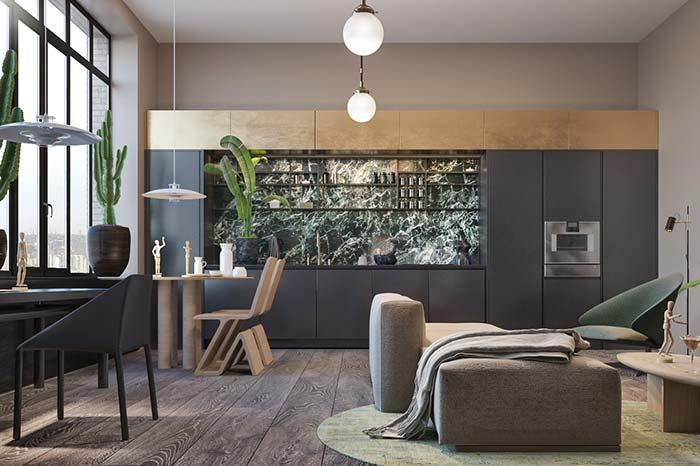 Green marble gives its contribution to the sober and refined environment