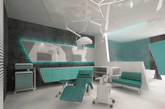 Dental office with blue Tiffany decoration