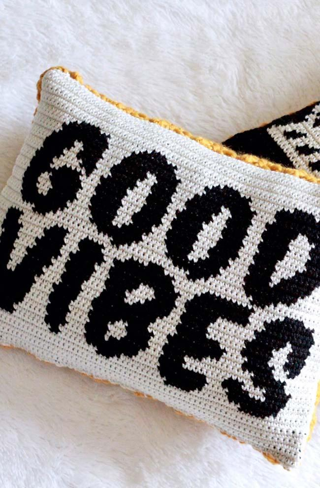 Crochet Cushion Cover with Phrases