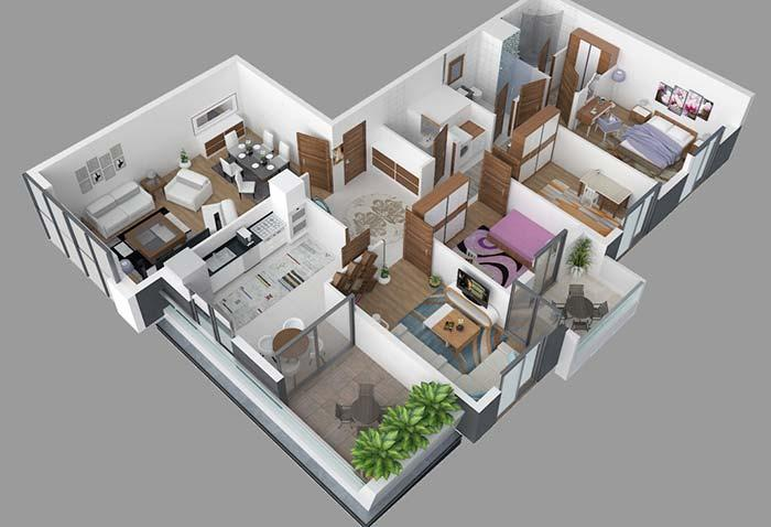 Floor plan with three bedrooms and two bathrooms