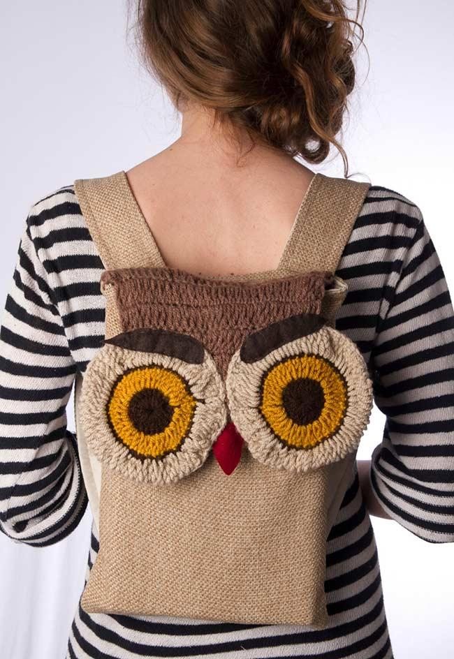 Fabric backpack with crochet owl application