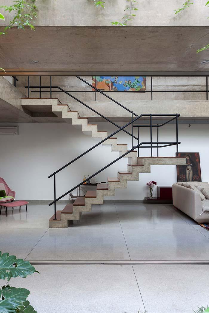 Concrete staircase in living room