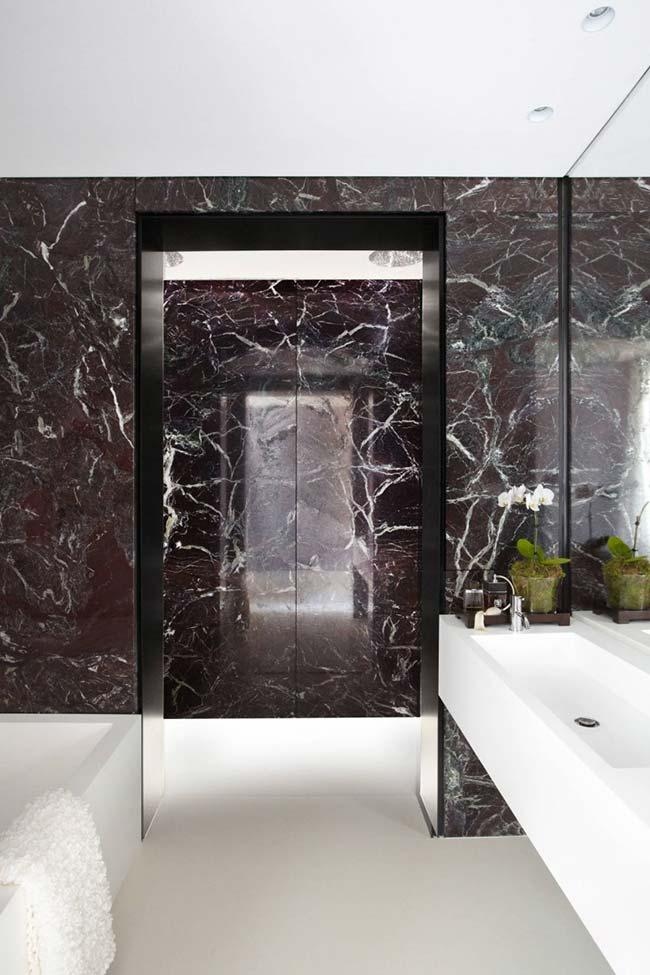 Bathroom with black marble finish