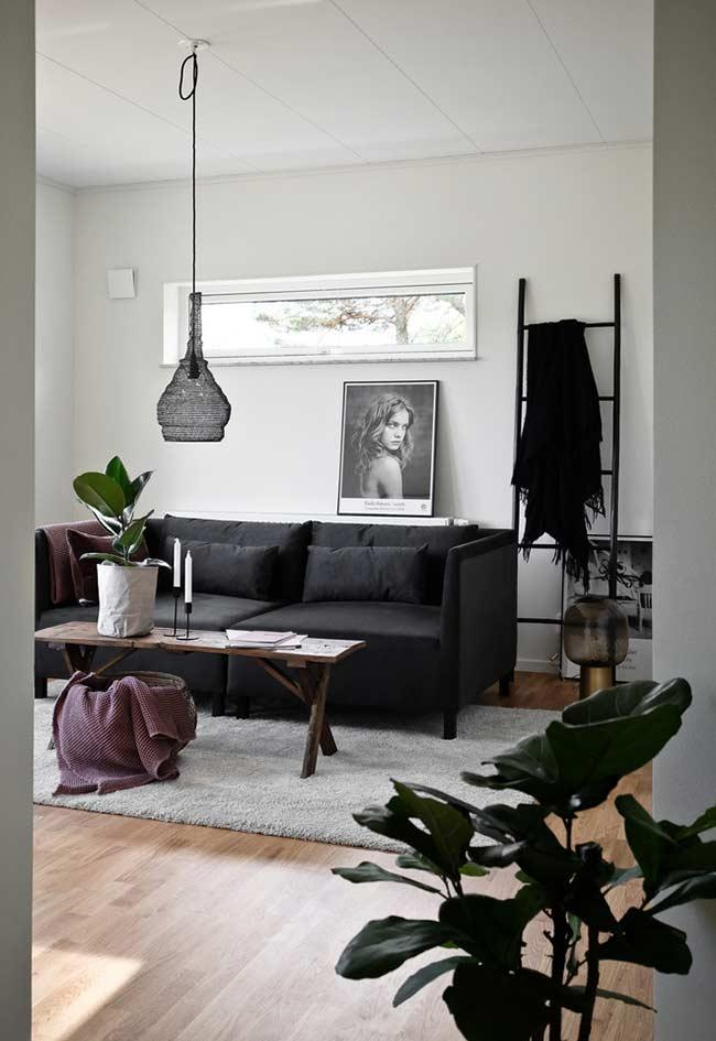 Black sofa with cushions
