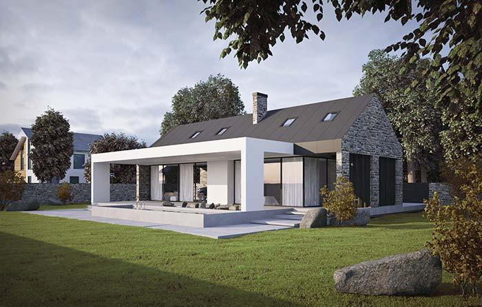 Zinc tile in stone house