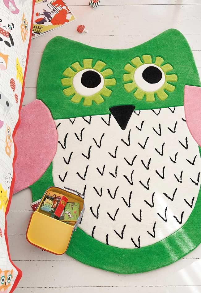 Super Animated Owl Carpet for Girl's Room