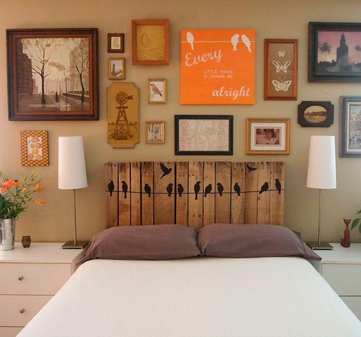 Headboard with stickers
