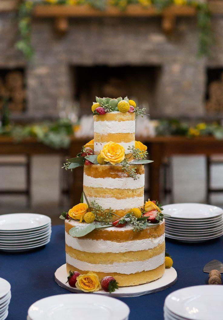 If yellow is the color of the wedding, use it on the simple wedding cake