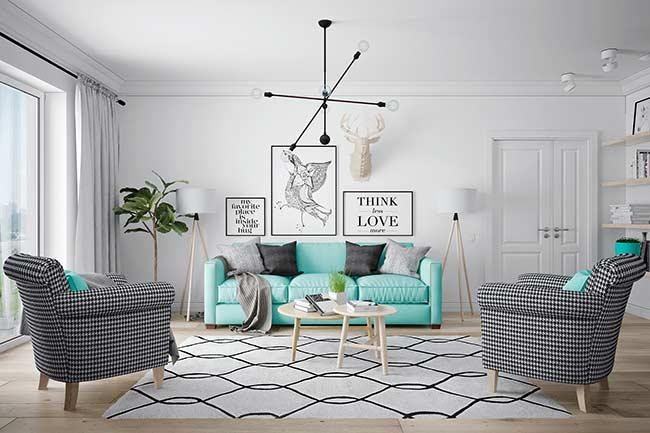 Decoration with Scandinavian and Blue Tiffany Style