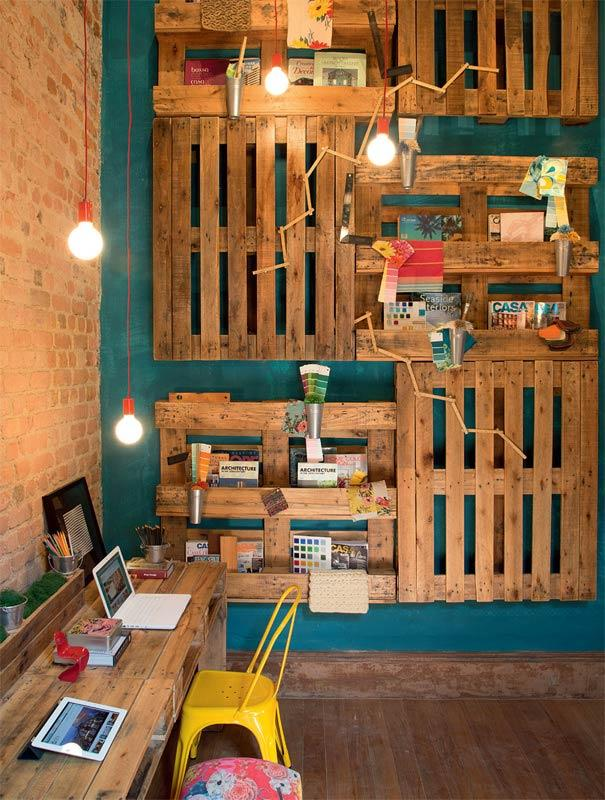 Home office organization with pallet panel