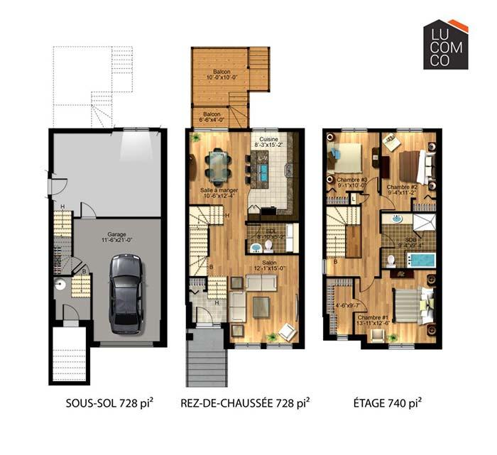 Floor plan with 3 bedrooms and underground garage
