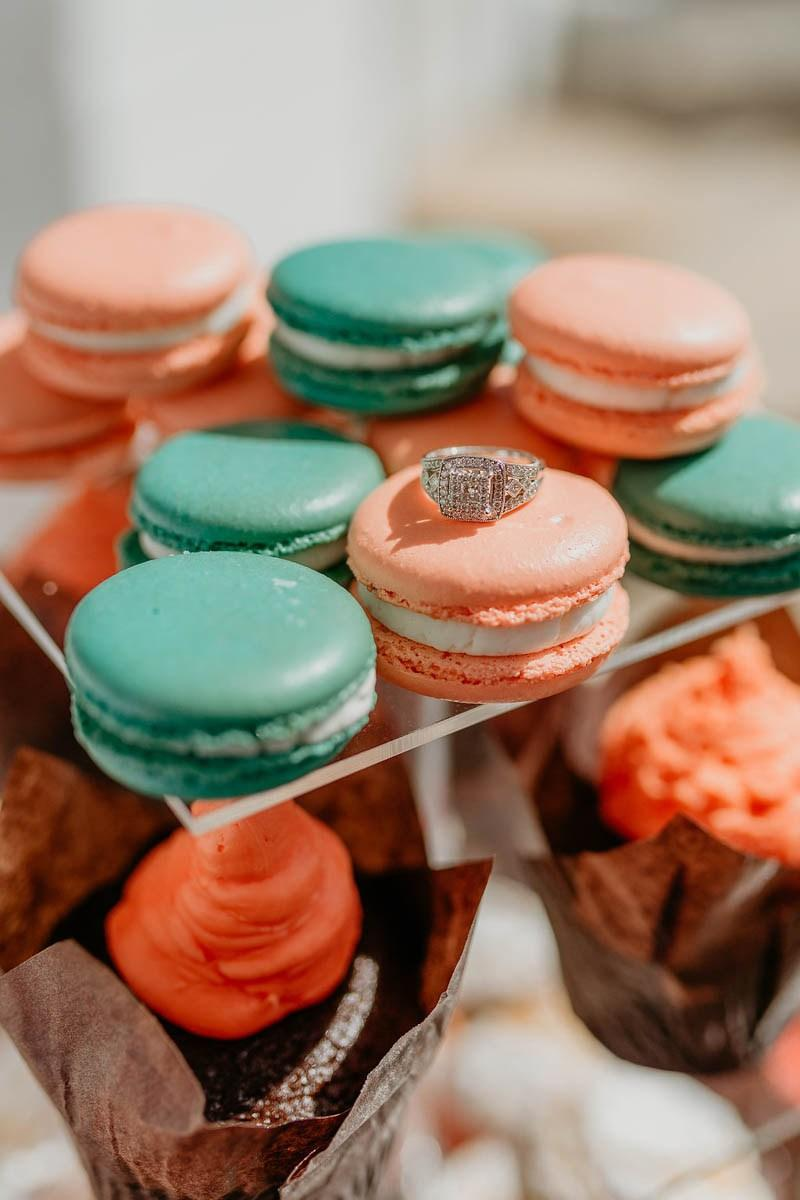 Simple Engagement Party: The Engagement Ring Exposed Over the Macarons