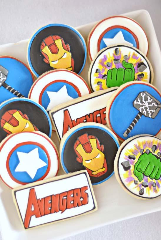 Buttery biscuits decorated for Avengers party