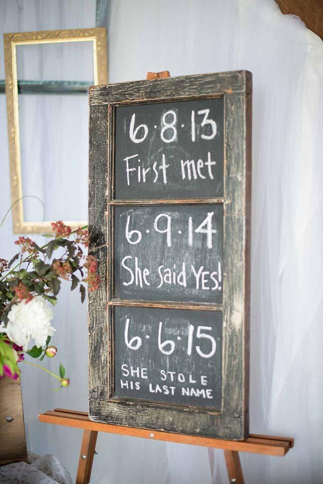 Do-it-yourself wedding decoration: on the blackboard, the dates that marked the life of the couple