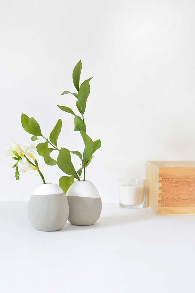 Double cement vases in decoration