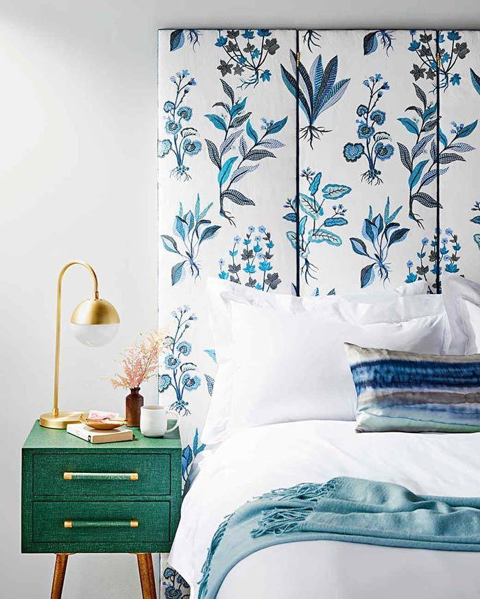 Headboard with flower print