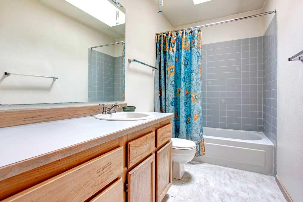 Bathroom with curtain