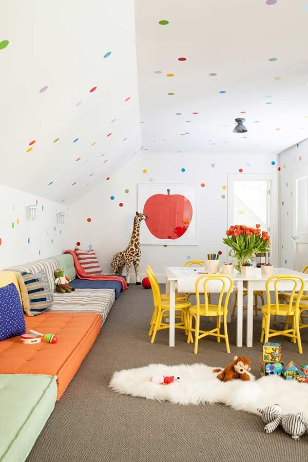Colorful and cozy on sofa for children's space