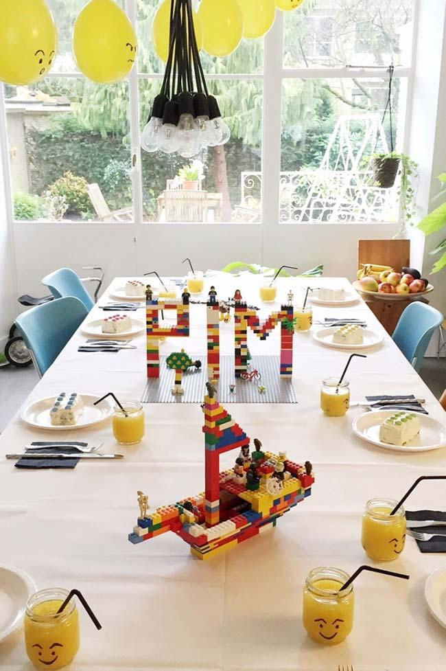 Lego sculptures in simple childrens party decoration
