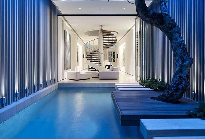 Indoor pool with wood deck