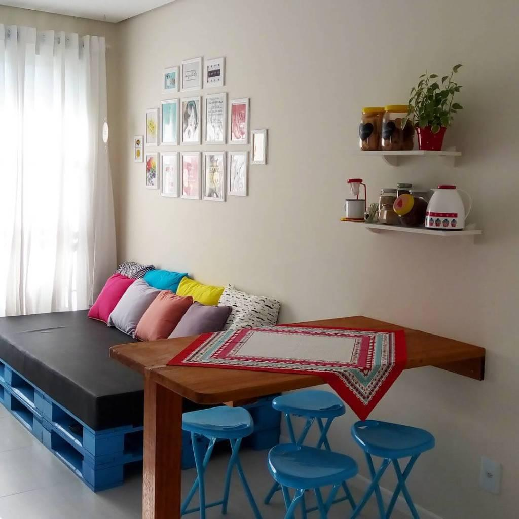 Colored pallet sofa