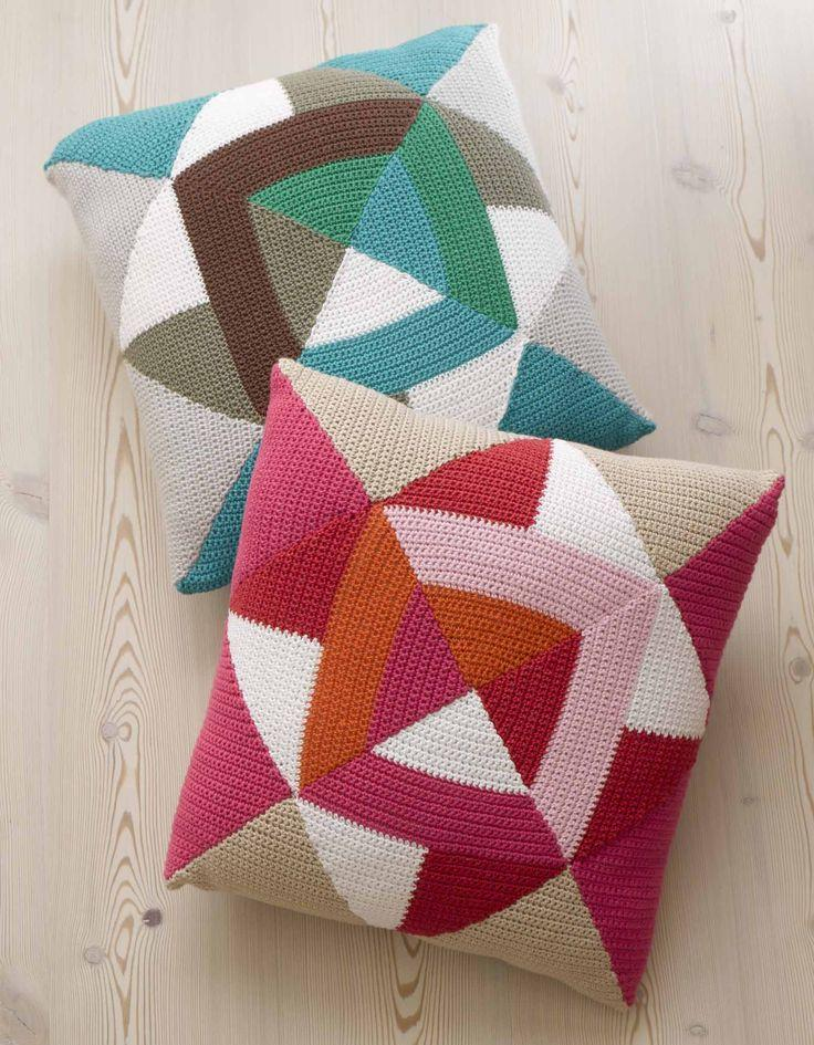 Patchwork crochet sleeve in geometric shapes