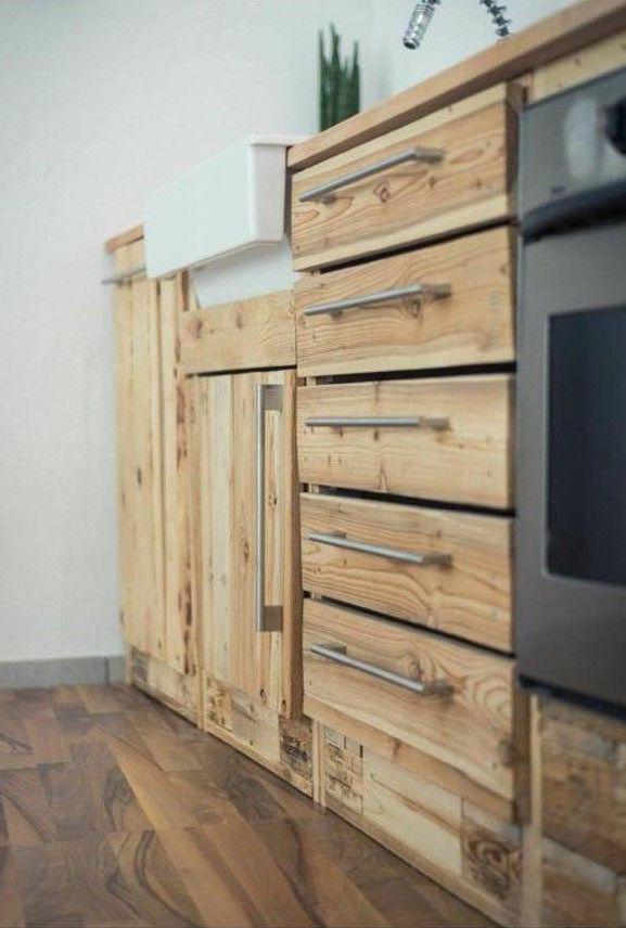 Kitchen cabinet made with pallets