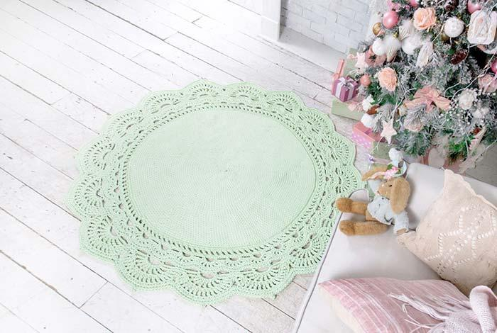 Round crochet rug with soft green water