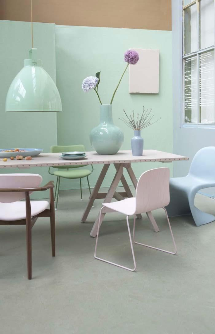Furniture and objects in pastel colors