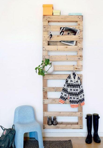 Pallets attached to the wall