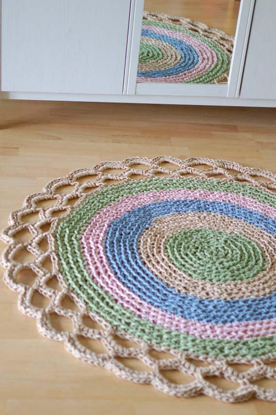 Barry on the round crochet rug for bedroom
