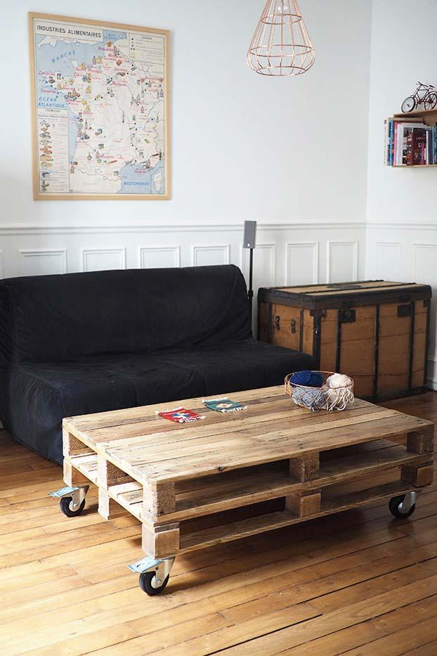Handicraft with pallets: coffee table rustic