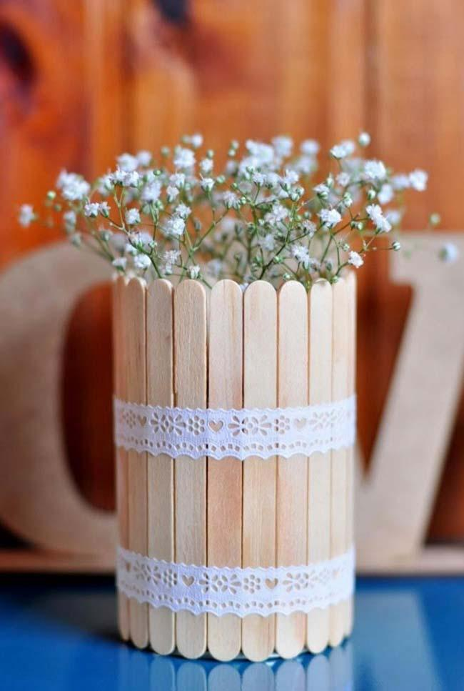 Vase with popsicle sticks