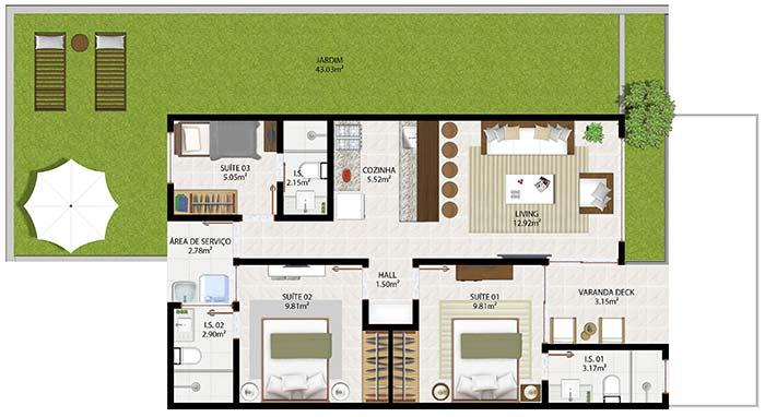 House plan with 3 suites