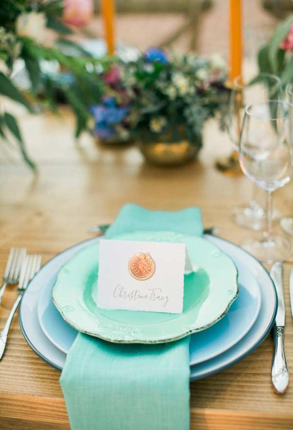 Tiffany blue fabric plate and napkin