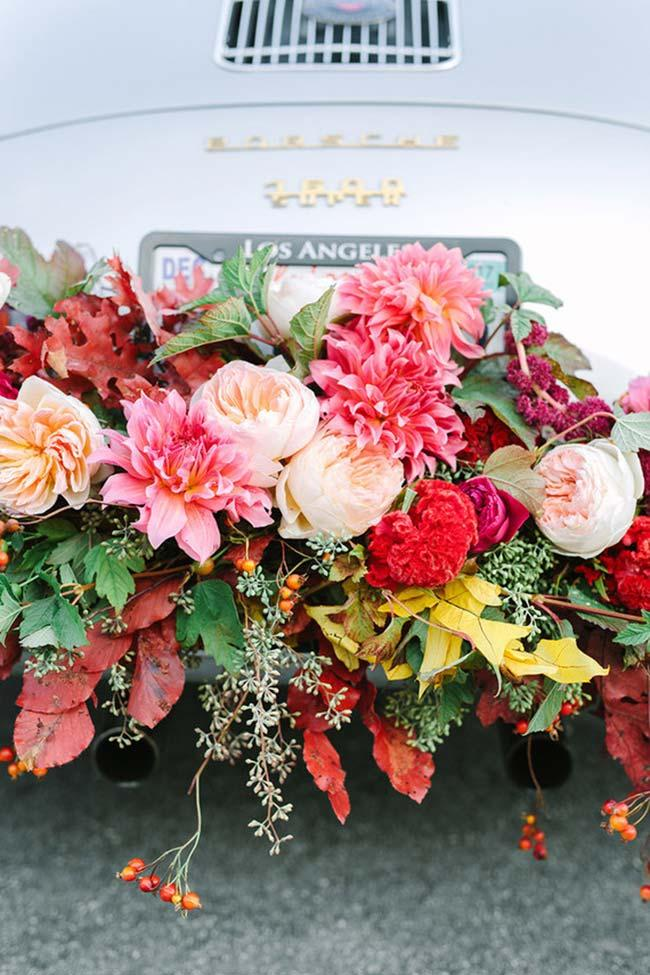 Car decorated with flowers in wedding decoration 2018