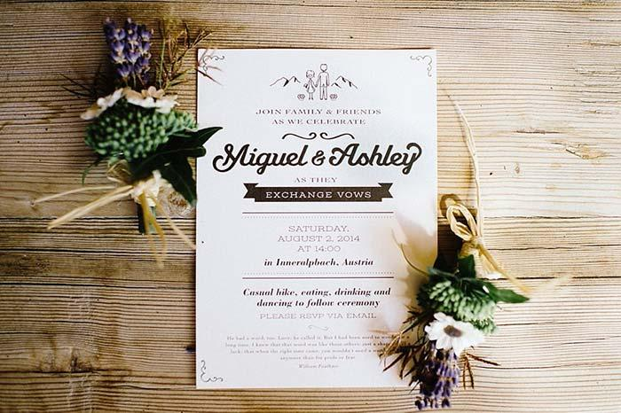 Sprigs of flowers and leaves look gorgeous in simple wedding invitation