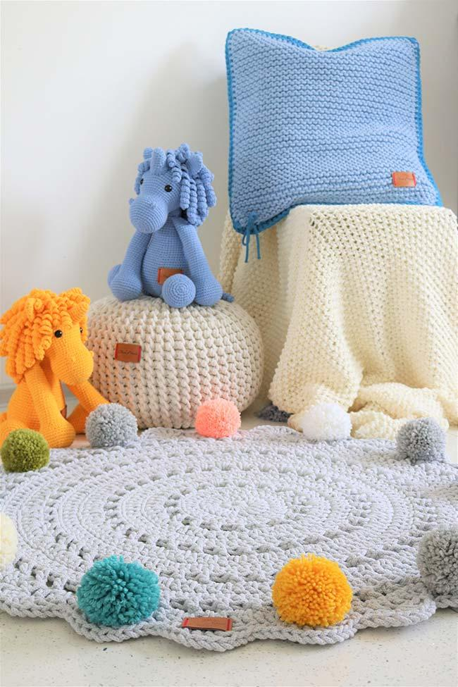 Round crochet rug for baby room